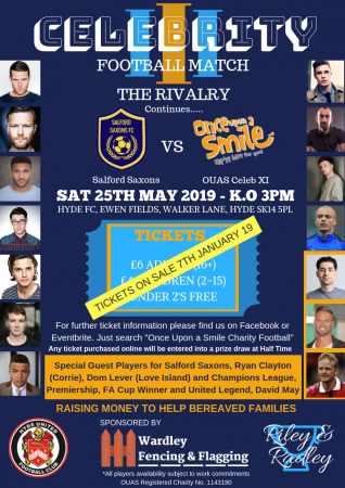 Once Upon A Smile – Charity Football Match – This Saturday